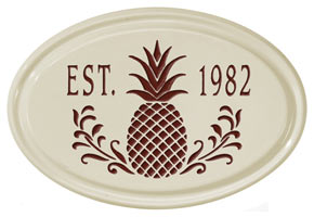 Whitehall Pineapple Petite Oval Plaque Red