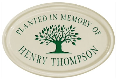 Tree Memorial Petite Oval Ceramic Plaque