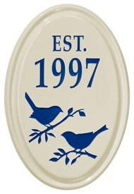 Whitehall Bird Silhouette Vertical Oval Blue