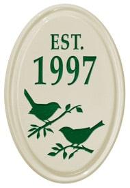 Whitehall Bird Silhouette Vertical Oval Green