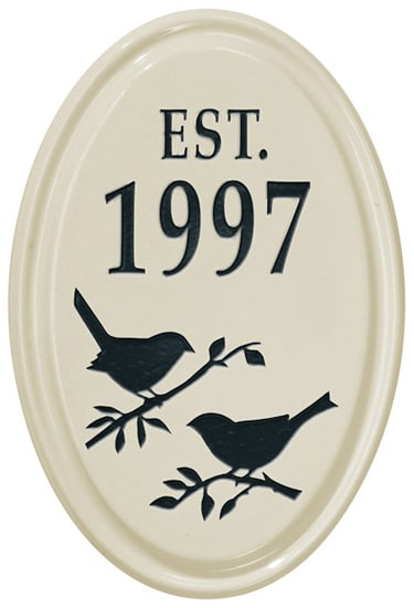 Bird Silhouette Vertical Oval Ceramic Plaque
