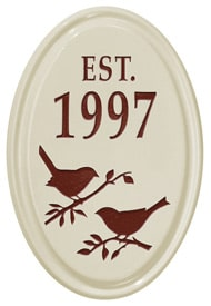 Whitehall Bird Silhouette Vertical Oval Red