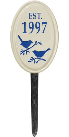 Bird Silhouette Vertical Oval Ceramic Lawn