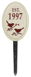 Bird Silhouette Vertical Oval Lawn Red