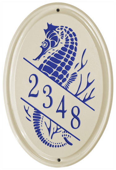 Whitehall Seahorse Vertical Oval Ceramic Plaque