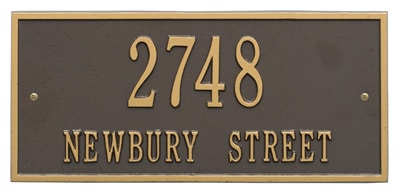 Whitehall Hartford Address Plaque Horizontal Rectangle