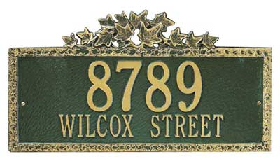 Whitehall Ivy Address Plaque Two Lines