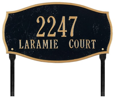 Whitehall Laramie Oval Arch Lawn Marker Address Plaque