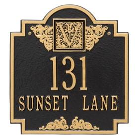 Whitehall Monogram Address Plaque Black Gold
