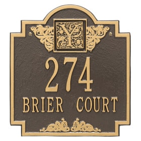 Whitehall Monogram Address Plaque Bronze Gold