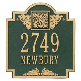 Whitehall Monogram Address Plaque Green Gold
