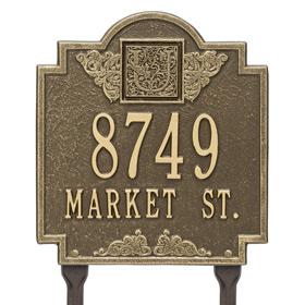 Whitehall Monogram Lawn Marker Antique Brass