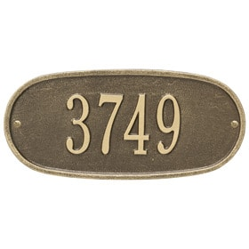 Whitehall Oval Address Plaque Antique Brass