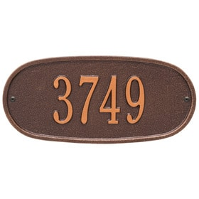 Whitehall Oval Address Plaque Antique Copper