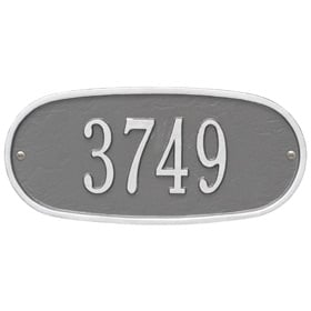 Whitehall Oval Address Plaque Pewter Silver