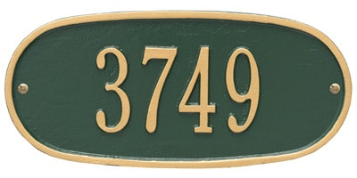 Whitehall Standard Oval Aluminum Address Plaque