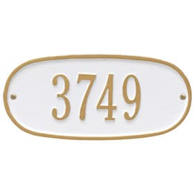 Whitehall Oval Address Plaque White Gold