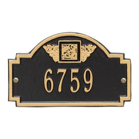 Whitehall Monogram Petite Plaque Black Gold
