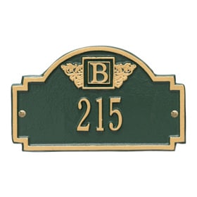 Whitehall Monogram Petite Plaque Green Gold