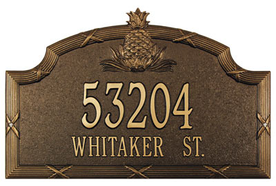 Whitehall Ribbon and Reed Pineapple Address Plaque