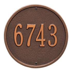 Whitehall Round Address Plaque Antique Copper