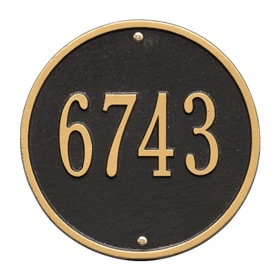 Whitehall Round Address Plaque Black Gold