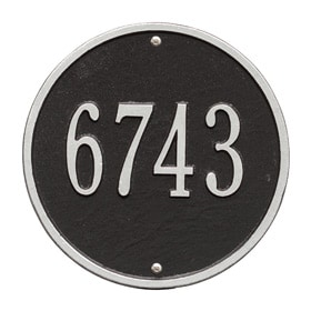Whitehall Round Address Plaque Black Silver