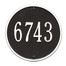 Whitehall Round Address Plaque Black White