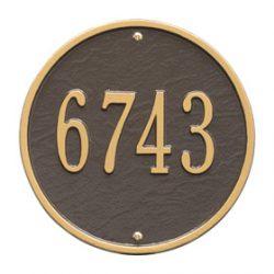 Whitehall Round Address Plaque Bronze Gold