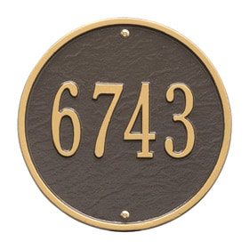 Whitehall Round Address Plaque Bronze Gold