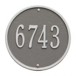 Whitehall Round Address Plaque Pewter Silver