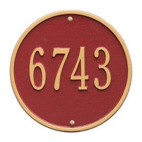 Whitehall Round Address Plaque Red Gold