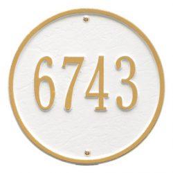 Whitehall Round Address Plaque White Gold