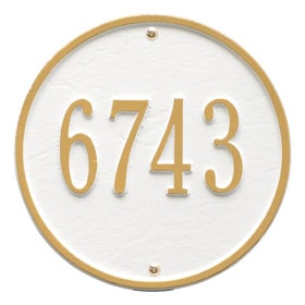 Whitehall Round Address Plaque White Gold