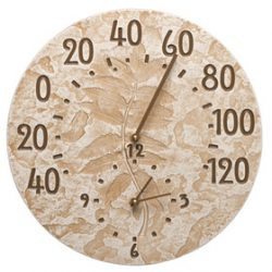 Whitehall Sumac Clock Thermometer Weathered Green