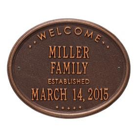 Whitehall Family Established Plaque Antique Copper