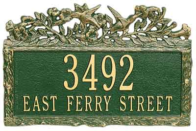 Whitehall Woodland Hummingbird Address Plaque