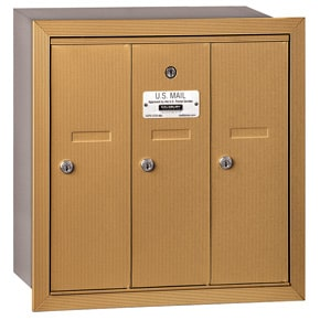 Salsbury 3 Door Vertical Mailbox Brass