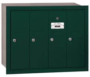 Salsbury 4 Door Vertical Mailbox Green