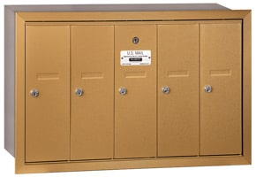 Salsbury 5 Door Vertical Mailbox Brass