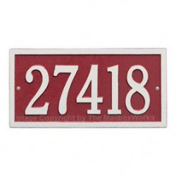 Whitehall Bismark Address Plaque Red Silver