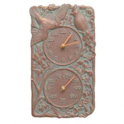 Whitehall Cardinal Clock Thermometer Copper Verdigris