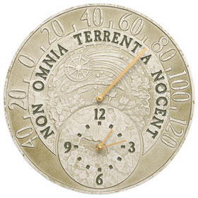 Whitehall Celestial Clock Thermometer Moss Green