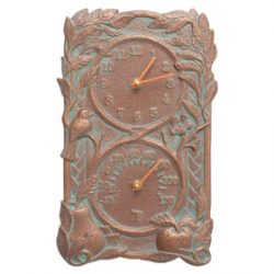 Whitehall Fruit Bird Clock Copper Verdigris