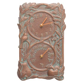 Whitehall Fruit Bird Clock Copper Verdigris