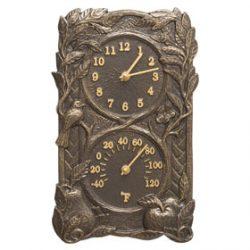 Whitehall Fruit Bird Clock French Bronze