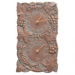 Whitehall Grapevine Clock Thermometer Copper Verdigris