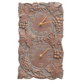 Whitehall Grapevine Clock Thermometer Copper Verdigris