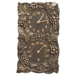 Whitehall Grapevine Clock Thermometer French Bronze