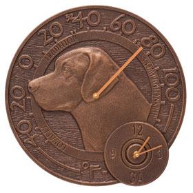 Whitehall Labrador Clock Thermometer Antique Copper